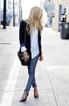nautical blue blazer and white button-down