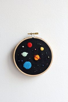 Space Embroidery hoop by twomoonsandhannais on Etsy #ad