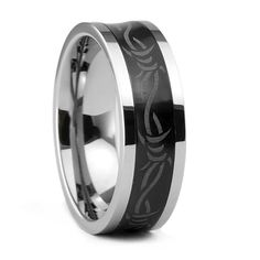Three Keys Jewelry 8mm Tungsten Ring Wedding Engagement Band Ring Groove Black Etched Celtic Barbed Wire *** You can get more details here : Gift for Guys
