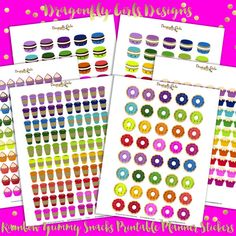 NEW!!!! DIY Rainbow Yummy Printable Planner Stickers Kit 430 Stickers 6 page pdf and 6 jpeg Erin Condren Coffee Macaroon Donuts Cupcakes