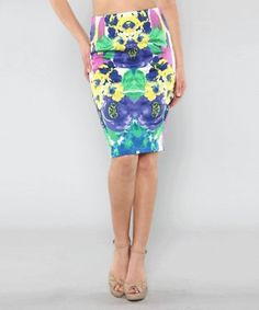Floral Mirrored Print Ponti Skirt