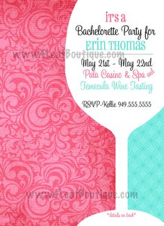 Wine Tasting Invitation Bachelorette Party Invitation Birthday