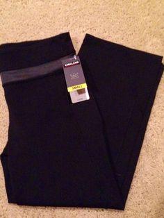 Yoga-Pants-Black-Cropped-S-Capri-Gray-Trim-Exercise-Lounge-Knit-PIlates-NWT