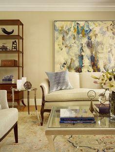klassisches Wohnzimmer Gemälde Akzent Wand neutral