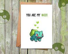 Valentine Gift Valentine Card Pokemon Bulbasaur Card by Pokemon Go, Pokemon Gifts, Pokemon Cards, Pokemon Bulbasaur, Nerd Valentine, Valentine Day Cards, Valentines Diy, Pokemon Valentines, Nerd Gifts