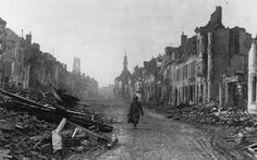 WWI, 1916, Somme; Lone German soldier in shell ruined and deserted Peronne. © IWM