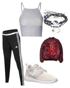 """Untitled #11"" by caulkermelvina ❤ liked on Polyvore featuring adidas, NIKE, Glamorous, GetTheLook and airportstyle"
