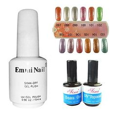 nananana 2PCS 14ml UV Top Coat GelandBase Gel 1PCS 15ml UV Color Gel 12 Assorted Color NO.97-108 *** Continue to the product at the image link.