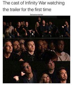 Marvel cast watching Infinity War trailer