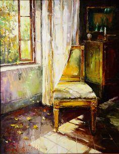 Russian artist Gleb Goloubetski | Autumn interior 100x80 2004