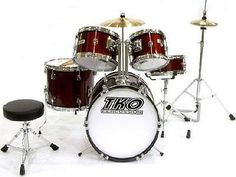 TKO 101 5-piece Children's Drum Set with Throne & Cymbals - Wine Red by TKO. $220.00. This great, affordable 5-piece set is perfect for young beginning and advancing drummers looking for a first 5-piece drum set!  This set provides a full 5-piece setup and features the great sound and quality that has made TKO one of the top names in beginner/intermediate drum sets. This drum set is made specifically for smaller drummers (age 6-11) who have advanced beyond the 3-piece drum set...