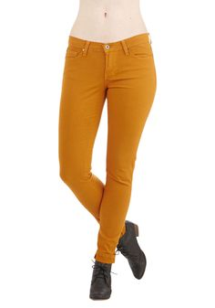 Outfit Outfeat Jeans in Honey - Cotton, Denim, Woven, Yellow, Solid, Pockets, Casual, Skinny, Fall