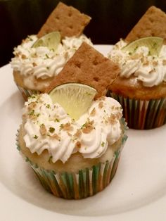 Key Lime Cupcakes: A recipe tweak... White cake cupcakes filled with lime curd (see link), tops swirled with lime curd, then topped with whipped cream, graham cracker crumbs and lime zest. Make ahead of time and chill to let lime curd set.