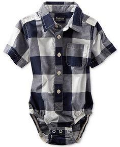 Osh Kosh Baby Boys' Buffalo Check Woven Bodysuit - Kids Baby Boy (0-24 months) - Macy's