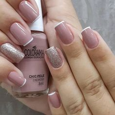 56 Glitter Gel Nail Designs For Short Nails For Spring 2019 Glitter Gel Nails, Cute Acrylic Nails, Manicure And Pedicure, Cute Nails, Elegant Nail Art, Pretty Nail Art, Nagellack Design, May Nails, Fall Nail Designs