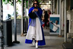New York Fashion Week's Street Style Stars Are Still Dressing Like It's Summer in Miniskirts and Crop Tops Photos | W Magazine