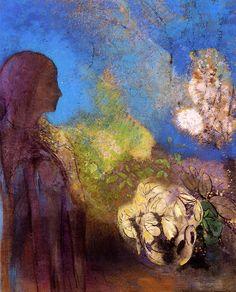 Girl with Chrysanthemums - Odilon Redon - 1905