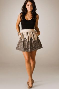 Love high waist skirts. They always make the body look slimmer.