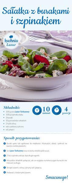 Sałatka z burakami i szpinakiem/ buraki/ szpinak/ser pleśniowy lazur/przepisy/ kuchnia lazur Cooking Recipes, Healthy Recipes, Polish Recipes, Avocado Salad, Tortellini, Food Inspiration, Green Beans, Food And Drink, Healthy Eating