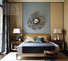 What a fantastic mix of blue-grey and sand. The use of line is exceptional. (May Elle Decor 2011)