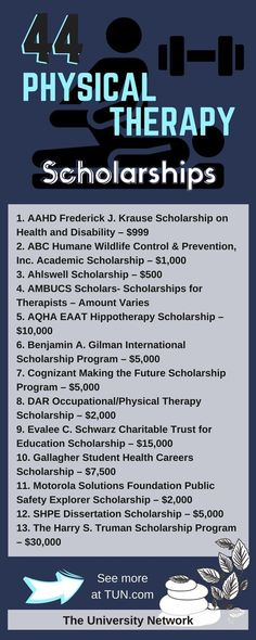 Therapy Scholarships Here is a selection of Physical Therapy Scholarships that are listed on TUN.Here is a selection of Physical Therapy Scholarships that are listed on TUN. School Scholarship, Scholarships For College, Education College, Health Education, College Tips, Pta School, College Checklist, College Planning, Medical School