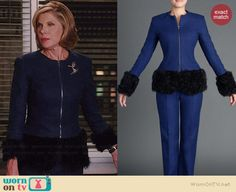 Diane's blue fur trimmed jacket on The Good Wife. Outfit Details: http://wornontv.net/39174/ #TheGoodWife