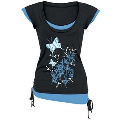 Flower Butterfly ($24) ❤ liked on Polyvore featuring tops, t-shirts, shirts, flower shirt, raw edge t shirt, tee-shirt, butterfly tops and butterfly print top