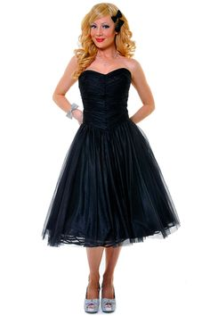 item 21517b Black Sweet as Peach Pie strapless chiffon swing dress $98