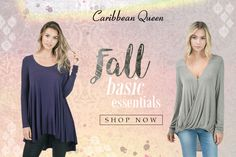 Stock up on Fall staples by Caribbean Queen. New customers receive free shipping!  #fashiongo #wholesale Caribbean Queen, Fall Staples, Fall Collections, Falling In Love, Free Shipping, Tops, Women, Fashion, Moda