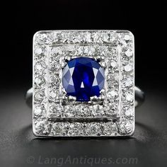 2.08 Carat Sapphire and Diamond Art Deco Cocktail Ring