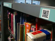 QR Codes in the school library Going to use them for classic books students rarely checkout in paper form, but seem to want to read in digital. Or is it excitement over format? Class Library, Library Science, Elementary Library, Library Lessons, Library Design, Library Ideas, Library Orientation, Middle School Libraries, Library Organization