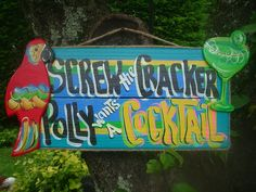 Tropical Tiki Drink Beach Bar Cocktail Sign by FRANSCOUNTRYNY, $24.95