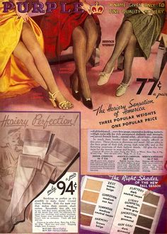 """Stocking styles and colors from a 1930s Sears catalog...too cool, but glad those days are """"vintage""""!"""