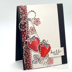 Seeing Ink Spots: Sweet Strawberry Fits the Sketch Handmade Greetings, Greeting Cards Handmade, 21 Cards, Food Cards, Flower Center, Stamping Up Cards, Get Well Cards, Recipe Cards, Creative Cards