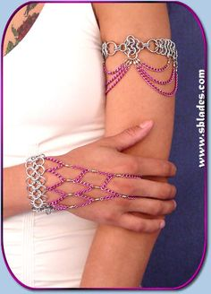 #Chainmail & More Colorful chain armband, Chainmail jewelry, Gothic metal styles