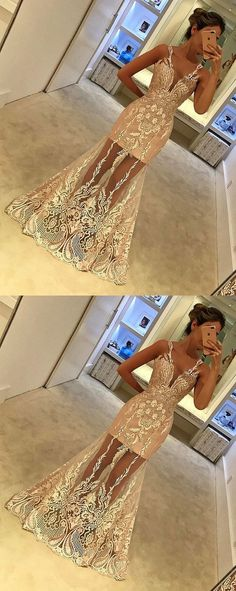 Mermaid V-Neck Floor-Length Sleeveless Champagne Tulle Prom Dress with Appliques by MeetBeauty, $175.64 USD