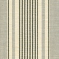 French Ticking Linen Fabric Grey and charcoal ticking stripe printed on off white linen
