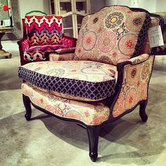 Mixed Patterns at Hooker Furniture — High Point Spring Market 2013 Hooker Furniture, Furniture Styles, Upholstered Furniture, Cool Furniture, Furniture Design, Painted Furniture, Wingback Chair, Armchair, Shabby Chic Rug