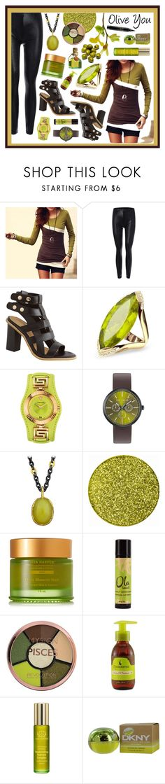 """""""Olive you"""" by beanpod ❤ liked on Polyvore featuring Forzieri, Versace, Ted Baker, Victor Velyan, Tata Harper, Olive, Macadamia, Donna Karan and MAC Cosmetics"""