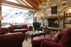 Living room in a ski chalet