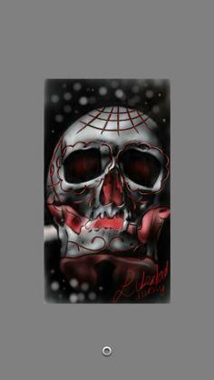 skull digital drawing libertad tattoo en piercing lounge