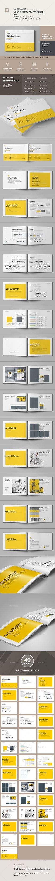 Brand Manual Brochure Design Template - Corporate Brochures Template InDesign INDD. Download here: https://graphicriver.net/item/brand-manual/11805697?ref=yinkira                                                                                                                                                                                 Plus