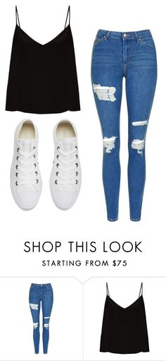 """Untitled #449"" by cuteskyiscute on Polyvore featuring Topshop, Raey and Converse"
