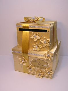 2 tier Gold Wedding Card Box/Sweet 16 Gift Card by bwithustudio, $113.00