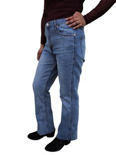 Women Popsugar High Rise Flare Denim Jeans Medium Wash Runs Small Pick Size Buy Jeans, Denim Jeans, Denim Flares, Popsugar, Cropped Jeans, Looks Great, Thighs, Running, Clearance Sale