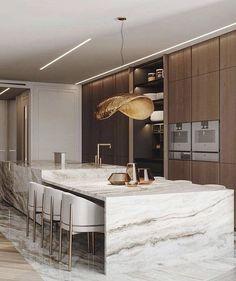 Kitchen Room Design, Kitchen Dinning, Modern Kitchen Design, Home Decor Kitchen, Interior Design Kitchen, Home Kitchens, Modern Kitchen Interiors, Elegant Kitchens, Art Interiors