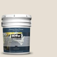 BEHR Premium Plus Ultra 5 gal. #73 Off White Satin Enamel Interior Paint