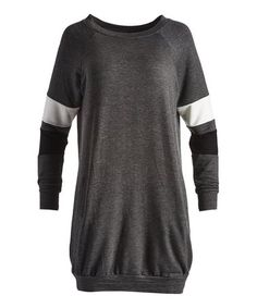 Look what I found on #zulily! Charcoal & White Arm-Stripe Tunic #zulilyfinds