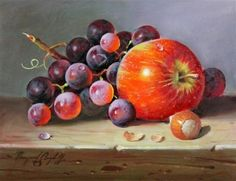 Artwork by Raymond Campbell, Apple and grapes, Made of oil on board