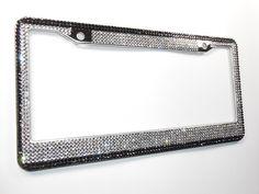 2 Titanium Silver Clear Diamond Crystals License Plate Tag Frames for Car-Truck